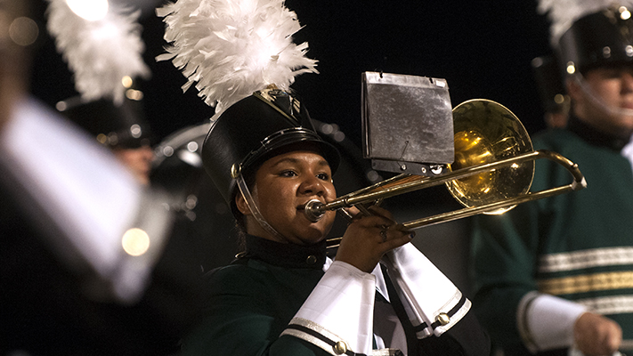 Elyse Carter is trombone section leader for the Missouri S&T Marching Band. Photo by B.A. Rupert