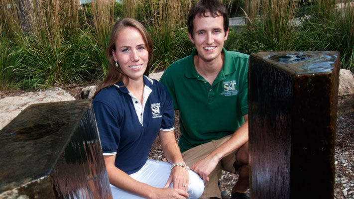 Krista and Matt Limmer at one of their favorite spots on campus. Photo by B.A. Rupert