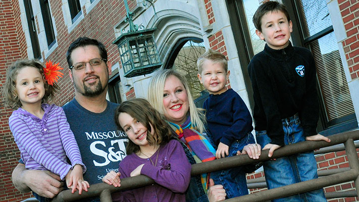 Jon Silberhorn II and his wife Hollie, with children (from left) Hope, Noel, Michael and Jonathan. Photo by B.A. Rupert.