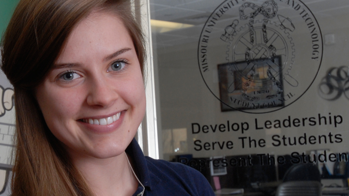 Senior Ashley Koesterer is preparing to graduate this spring with two degrees. Photo by B.A. Rupert.