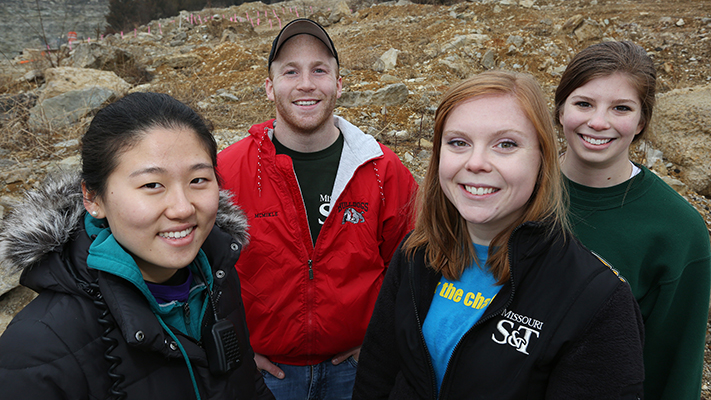 From left: Jihee Belinda Choi, Adam McMikle, Shelby McNeil and Sarah Jones are heading in four different directions for  this year's Miner Challenge. Photos by Sam O'Keefe.