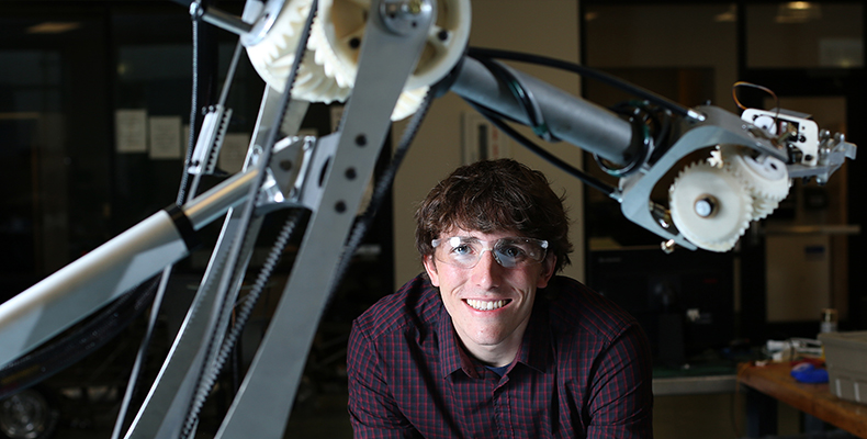 Jonathan Bopp, a sophomore in mechanical engineering from Kirkwood, Mo., is a second-year member of the Mars Rover Design Team. Photos by Sam O'Keefe.