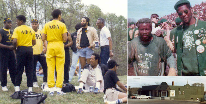 "Members of the Epsilon Psi chapter of Alpha Phi Alpha hanging out at the 1969 Greek Week; two fraternity brothers enjoying the 61st ""Best Ever"" St. Pats; the fraternity's original house, as pictured in 1965. Contributed photos by Henry Brown"