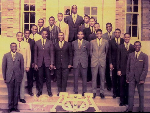 The 18 founding members of the Epsilon Psi chapter of Alpha Phi Alpha fraternity.