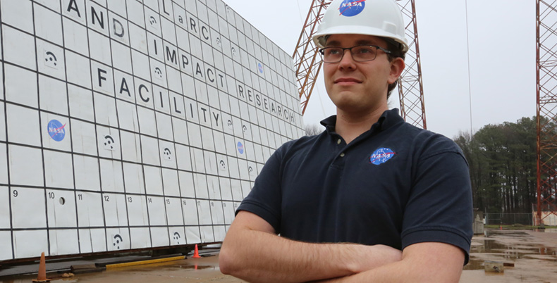 Doctoral student Paul Friz worked with NASA last fall in California and is working with the space agency again this year in Langley, Virginia. Here he's at the Langley gantry, where crash tests are conducted on spacecraft, aircraft and helicopters.