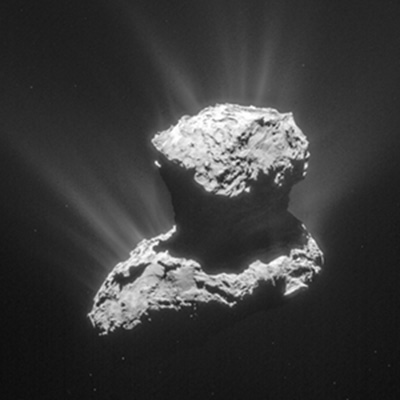 Last fall, Paul Friz worked on the joint European Space Agency and NASA project that deployed the Rosetta orbiter around Comet 67P/Churyumov-Gerasimenko. This image of the comet was taken March 25, 2015, from a distance of 86.6 km from the comet's center.