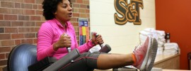 Kamaria Blaney exercises at the S&T Fitness Center on a recent morning.