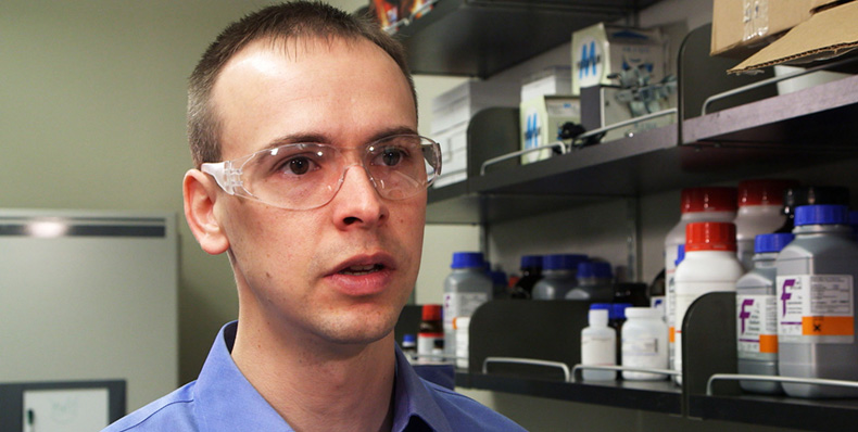 Missouri S&T graduate Kyle Lampe, now an assistant professor at the University of Virginia, is conducting research that may one day lead to treatments for multiple sclerosis and other diseases.