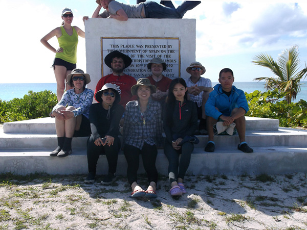 The group poses for a picture on San Salvador Island.