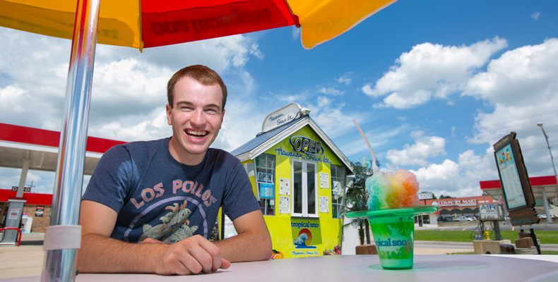 Ryan Priesmeyer, an incoming freshman at Missouri S&T, owns and operates the Tropical Sno on 10th Street in Rolla.            Sam O'Keefe/Missouri S&T