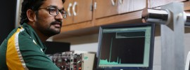 Graduate student Manish Sharma works on his nuclear engineering research in Fulton Hall. Sam O'Keefe/Missouri S&T