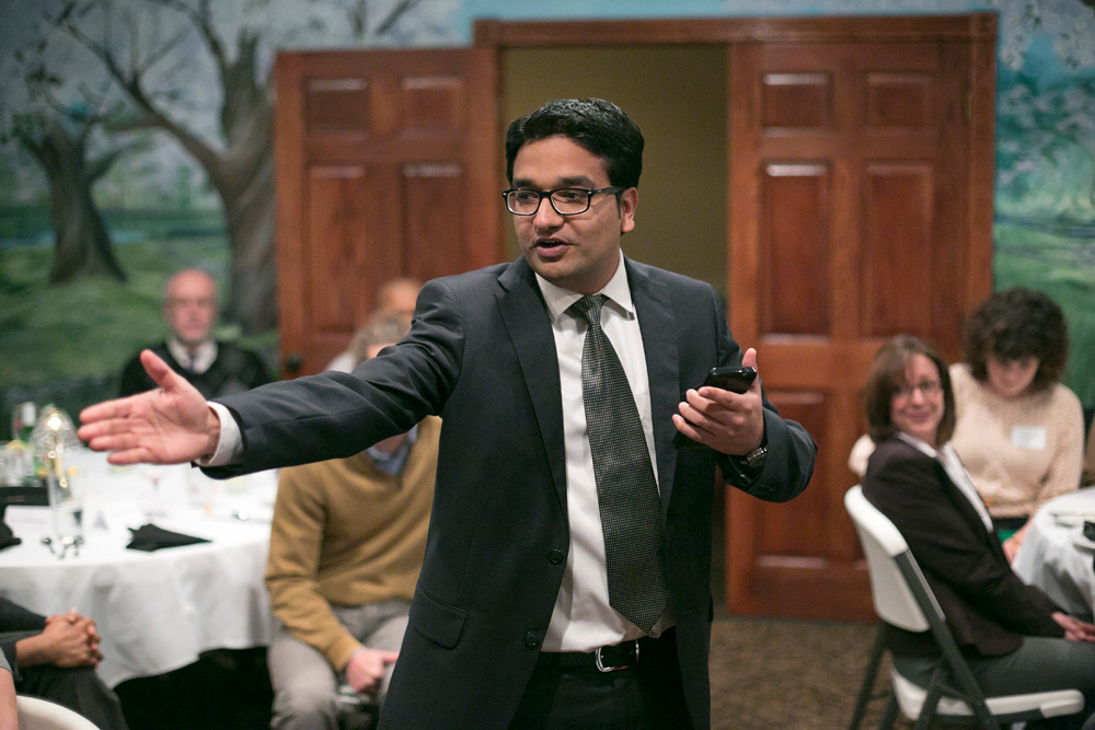 Manish Sharma speaks to fellow students and members of the University of Missouri system at the Graduate Leadership Development Program awards dinner in Rolla on Nov. 13, 2014. Photo by Sam O'Keefe/Missouri S&T