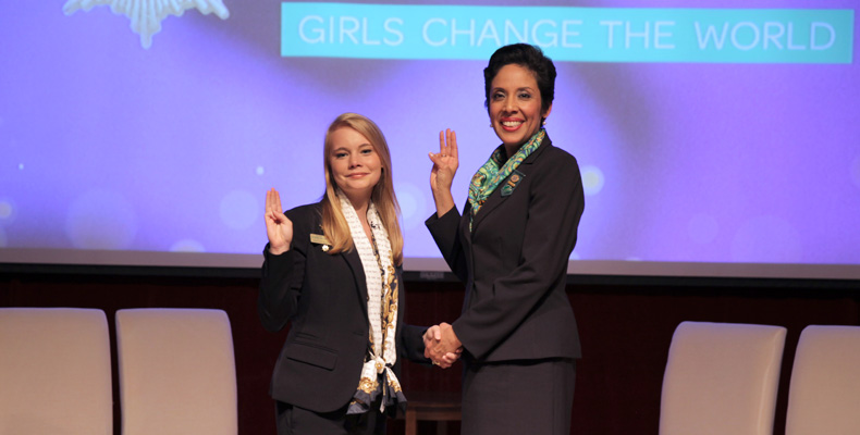 Jamielee Buenemann (left) is recognized by Anna Maria Chávez, CEO of the Girl Scouts of the USA, at the National Young Women of Distinction event in New York.