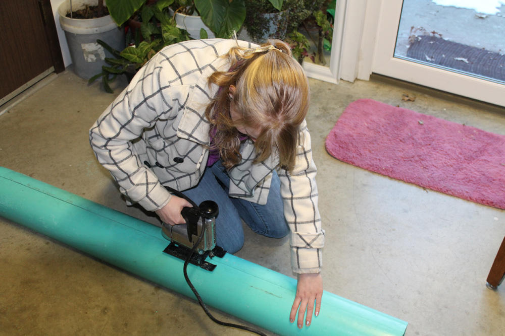 Buenemann tested three different types of material, and decided to build her wind turbine out of PVC because it was both lightweight and durable.