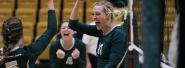 Krista Haslag, a senior from Linn, Missouri, celebrates with her teammates after the S&T volleyball team defeated the University of Missouri-St. Louis on Oct. 3.