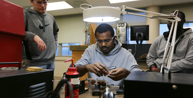 Tamerate Tadesse tests a circuit during his senior design lab. A native of Ethiopia, Tadesse has been interested in fixing electronics since he was a child. Sam O'Keefe/Missouri S&T