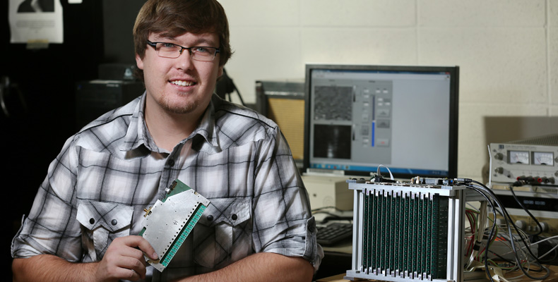 Matt Horst won a spot in the coveted 2015 National Science Foundation (NSF) Graduate Research Fellowship program for his work in developing a 3D real-time wideband microwave camera that can produce images. Sam O'Keefe/Missouri S&T